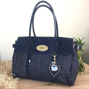 Mulberry denim and patent leather blue bag